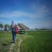 Walking through paddy field
