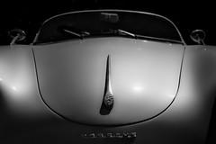Happy Porsche (phunnyfotos) Tags: phunnyfotos australia victoria vic car classiccar vintage vintagecar porsche speedster porschespeedster mono bw monotone bonnet badge windscreen smile smileyface happy nikon d750 nikond750 sportscar sleek aerodynamic lines curve curves