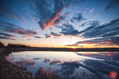 Another evening, another beauty (Kasia Sokulska (KasiaBasic)) Tags: canada alberta prairies spring sunset sky clouds reflections landscape