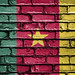 National Flag of Cameroon on a Brick Wall