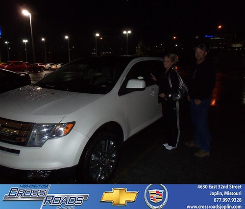 Crossroads Chevrolet Cadillac would like to say Congratulations to Roxie Barnes on the 2008 Ford Edge