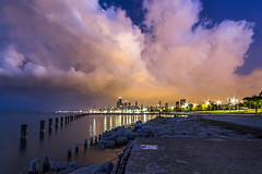 Storm Coming (clarsonx) Tags: city chicago storm water skyline night clouds illinois cityscape shoreline lakemichigan shore bluehour fullerton lincolnpark johnhancockbuilding chicagoist