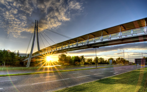 Abbey Wood footbridge at sunset