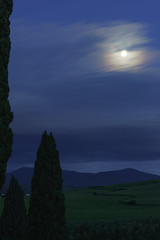 Pian del Colombaio in the evening (marianboulogne) Tags: longexposure nightphotography blue trees sky italy moon tree night twilight europa europe exposure tuscany nuit montenero sonya99
