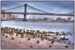 Manhattan Bridge/ Pier Remnants (Rob Lybeck) Tags: newyorkcity pier manhattanbridge eastriver hdr remnants roblybeckphotographer