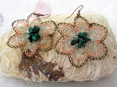 Layered open flowers with Malachite chips (cindycreativecrochet) Tags: flower green stone bronze wire handmade crochet jewelry canadian copper earrings saskatchewan silvertone malachitechips cindyscreativecrochet