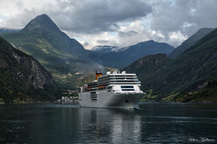 Costa Romantica in Geiranger (Håkon Kjøllmoen, Norway) Tags: ocean cruise sea costa mountains reflection beautiful norway contrast scenery ship vessel concordia geiranger costaromantica visitnorway whiteship