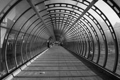 Classic Poplar (and the moon rose) Tags: city bridge urban blackandwhite london station architecture poplar footbridge docklands dlr docklandslightrailway poplardlrstation dlrstation