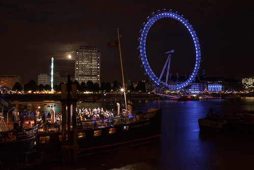 London Eye sur la Tamise - Moonlight Clair de lune - photo picture image photography