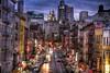 Chinatown (Slapz NYC) Tags: china city nyc newyorkcity light urban ny newyork building brick cars car night buildings lights graffiti chinatown manhattan bricks watertower chinese urbanart hdr photomatix