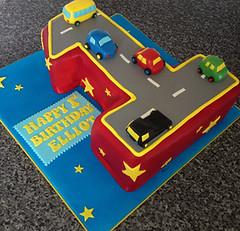 No. 1 Race Car Cake