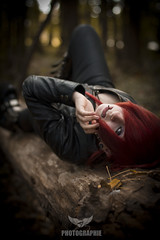 Enchanted Forest 2 (AMY Photographie) Tags: autumn red portrait france tree cute girl leather forest canon hair french eos 50mm model sweet jacket harmony 7d piercings hairstyle arbre fort alternative nord octobre douai demonia ldoll