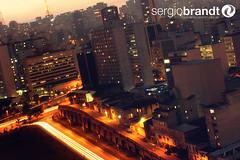So Paulo (Sergio Brandt) Tags: street longexposure cidade orange cars brasil sopaulo nuvens noite entardecer rayoflight