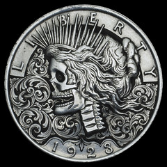 Peace Dollar Collaboration (Seth Basista Engraving) Tags: ohio andy metal silver skull seth coin hand knife made master engraving dollar nickel knives hobo engraved sculpted youngstown austintown engraver basista shinosky