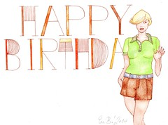 Happy Birthday (Gallery Eva B / Watercolor Illustrations) Tags: birthday original brown green fashion female illustration ink watercolor design handmade feminine letters card handpainted figure font watercolour colourful typo greetingcard whimsical fashionillustration