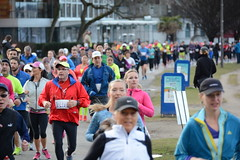 First Half Feb 16 2014 085915 (gherringer) Tags: canada vancouver race outdoors athletics downtown bc exercise britishcolumbia competition running seawall runners englishbay stanleypark colourful westend fit active bibs 211km 131mi vanfirsthalf 2014firsthalfhalfmarathon
