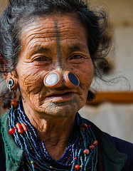 Back to Ziro (rob of rochdale) Tags: portrait woman india tattoo beads candid character indian tribal tribe neindia arunachalpradesh ziro apatani noseplugs robofrochdale