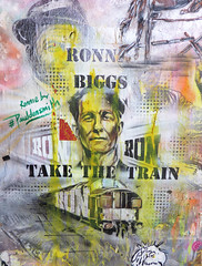 Ronnie Biggs by Paul Don Smith - Brick Lane (Dutch Girl in London) Tags: streetart pasteup graffiti stencil shoreditch tribute bricklane eastlondon trumanbrewery ronniebiggs trainrobbery