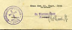 Siegel: Thüringer Evangelische Kirche, Pfarramt Knau 1938 (Hans-Michael Tappen) Tags: siegelthüringerevangelischekirchepfarramtknaukrschleiz1938 sphragistik collectionhansmichaeltappen siegel evangelischekirche knau 1938 1930s 1930er