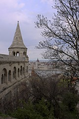 Fisherman's Bastion (oxfordblues84) Tags: trees sky building tree architecture clouds river europe hungary budapest neogothic danube touristattraction cloudysky danuberiver fishermansbastion fishermensbastion halaszbastya vikingrivercruise 5photosaday neoromanesque frigyesschulek hungaryparliament