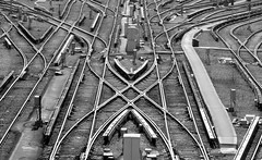 b & W (thaneladner) Tags: tracks railyard railway railroad