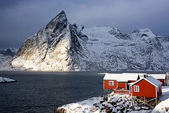 Rorbuer at Hamnoy (Palnick) Tags: winter landscape norway fjord snow lofoten village sea reine water nature ocean mountain norwegian town sky scandinavia nordic house coast arctic rorbu europe fishing outdoors north island rorbuer moskenesoya harbor scenery nordland hut sunny blue bay pier scenic red sunset boat ice peaks cold islands panorama sunrise travel picturesque houses lights night mountains hamnoy
