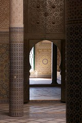 telouet: mind blowing place (diminoc) Tags: morocco islamicgeometry tiles stucco carving arch doors architecture kasbah desert pillars stars rooms inside perspective