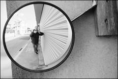 Reflecting on Kamakura osanpo (Eric Flexyourhead) Tags: street city urban bw selfportrait detail reflection japan mirror blackwhite kamakura convex 日本 kanagawa 45mm fragment 神奈川県 zd kanagawaken 鎌倉市 kamakurashi mzuikodigital45mmf18 olympusem5