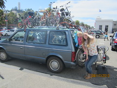 My lovely girls with Whymcycles on the Embarcadero,  San Francisco, USA (whymcycles) Tags: bike bicycle electric recycled tricycle rad plymouth bikes scooter mini rack bici trike voyager van minivan 1986 bicyclette carrier velo fahrrad tadpole whimsical roue pushbike roues handcycle freakbike quadracycle whymcycle peterwmwagner peterwagner handpedal armpower handpedalled