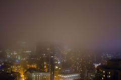Foggy San Francisco (Rebecca Sharplin Hughes) Tags: sanfrancisco longexposure trip travel light sky usa colour beautiful weather fog skyline architecture digital america canon project outside lights evening twilight waiting exposure pretty experimental glow quiet view bright foggy experiment hilton busy american 7d dreamy block colourful unionsquare enviroment floor38