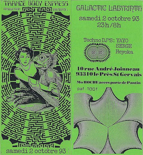 "Patrice Heyoka - Flyer 02/10/1993 - TBE ""Galactic Labyrinth"" (Paris) <a style=""margin-left:10px; font-size:0.8em;"" href=""http://www.flickr.com/photos/110110699@N03/11307370886/"" target=""_blank"">@flickr</a>"