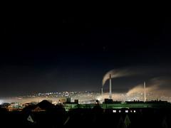 """Holy Night"" (helmet13) Tags: d700 raw studies night nightshot christmas holynight industry steam fog sky stars wind city citylights aoi peaceaward 100faves world100f longexposure"