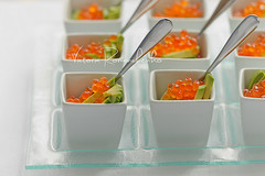 Avocado and Red Caviar (***VR) Tags: party food holiday fish green horizontal dinner lunch avocado salad healthy focus pattern cream nobody vegetable line gourmet whitebackground snack brunch appetizer buffet portion lime dip spoons healthyfood garnish selective glassplate redcaviar verrine verine