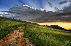 Rotation Of Heaven (Dimmilan) Tags: road sunset sky nature grass clouds landscape countryside twilight path serbia hills fields rajac slicesoftime galleryoffantasticshots