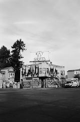 eat my shorts (thetacobelljar) Tags: urban blackandwhite film analog graffiti oakland olympusstylusepic squat pointandshoot
