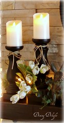 Real Lite Candles on Mantel (dining delight) Tags: bunny birdcage fireplace ivy lantern candlesticks minilights heisrisen boxwoodwreath blackroundmirror |springmantel