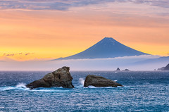 Mt Fuji & Twin Rocks In The Dramatic Sky (-TommyTsutsui- [nextBlessing]) Tags: blue light sunset sea summer sky orange cloud seascape storm yellow rock japan landscape coast nikon surf waves fuji purple scenic shore        izu mtfuji   matsuzaki  kumomi   sigma50150  onsalegettyimages