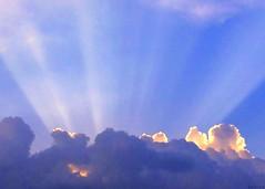Sunbeams over Atlanta (swampzoid) Tags: above blue sunset sun beautiful sunshine clouds lights heaven god divine glorious creation rays heavens heavenly sunbeam sunsetting sunbeams rayoflight firmament