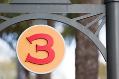Three (Tom Whitney Photography) Tags: sign three 3 curves round number trees blurred backgroud bokeh