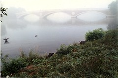 """Weeks Memorial Bridge in Fog"" (Cambridge Room at the Cambridge Public Library) Tags: colorprintsphotographs barrenetxearamon ramonbarrenetxea cambridgemass charlesrivermass photography19801990 photographycompetitions"
