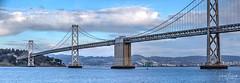 Oakland Bay Bridge at Pier 14 (txaggie321) Tags: sanfrancisco california bridge landmarks hdr canon 1dx bayarea oaklandbaybridge water clouds