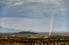 Tucson Dust Devil (Gavmonster) Tags: nikon nikond7000 d7000 gswphotography landscape clouds sky land weather extremesky tucson arizona usa unitedstates dustdevil whirlwind dancingdevil sandauger dustwhirl rotating column updraft vortex stormchaser stormchasing extremeweather