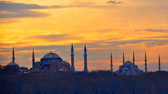 Blue Mosque and Hagia Sophia at Sunset (natureloving) Tags: bluemosque hagiasophia sultanahmedmosque sunset istanbul turkey natureloving nature nikon d90