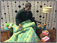Patronizing the Competition! (Land of Dolls) Tags: jammies diorama blanket sick donuts coffeedollfurniture jake actionfigure 16thscale