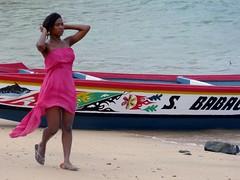 The Girl from Ipanema. (Zara and the Realm of Light) Tags: gorée island dakar senegal westafrica africa unescoworldheritagesites atlantic ocean beach pink dress strapless boat pirogue canoe thegirlfromipanema pinksummerdress