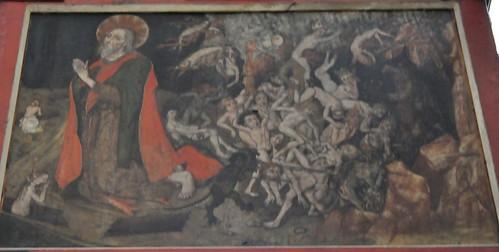 Rothenburg ob der Tauber (Alemania). Iglesia de Santiago. Retablo, pinturas parte trasera. Detalle