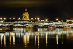 Gold, copper, silver ... - Золото, медь, серебро... (Valery Parshin) Tags: russia saintpetersburg stpetersburg bridge river neva night ngc reflection canoneos600d tamron18200f3563diiivc light water