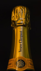 """MM- """"Happy Ten Years!""""- A must for celebrations! (Karon Elliott Edleson) Tags: champagne veuvecliquot macromondays happytenyears macro bubbly celebrate party drink beverage"""