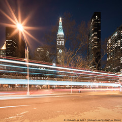 Broadway and Madison Square Park (20170409-DSC09821-Edit) (Michael.Lee.Pics.NYC) Tags: newyork broadway flatirondistrict madisonsquarepark metlifetower newyorkeditionhotel lighttrail traffictrail square night longexposure sony a7rm2 voigtlanderheliar10mmf56