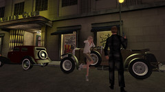 Crossed by the Collar! (Teddi Beres) Tags: second life sl time portal vintage threat thief car club 1930 1940 robber danger